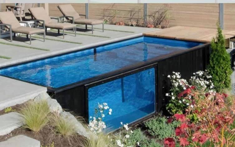 Vente piscine en kit container avec habillage bois…